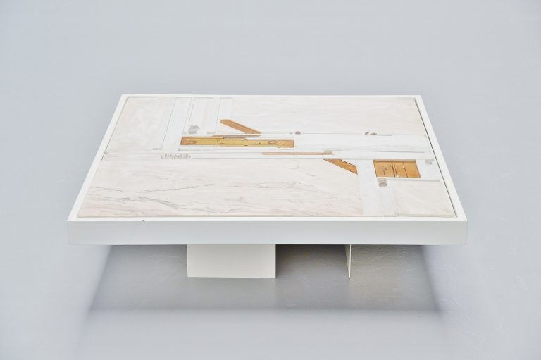 Paul Kingma white marble coffee table Holland 1984