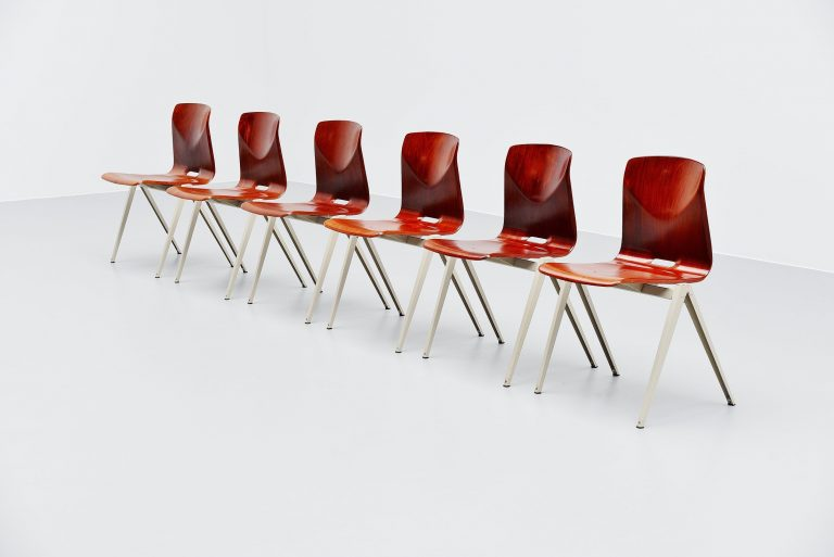 Pagholz S22 industrial stacking chairs 6x Germany 1965