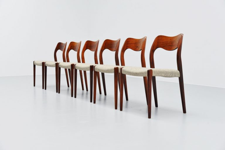 Niels Moller model 71 rosewood dining chairs 6x Denmark 1951
