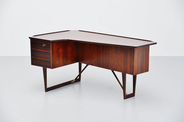 Peter Lovig Nielsen rosewood boomerang desk Denmark 1956