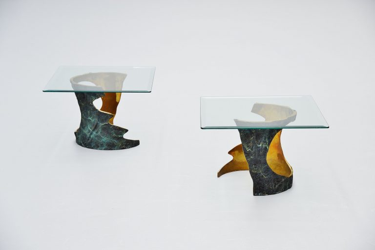 Willy Ceysens bronze side tables Belgium 1970