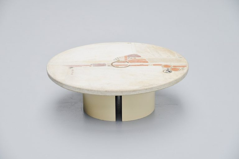 Paul Kingma round white artwork coffee table Holland 1985