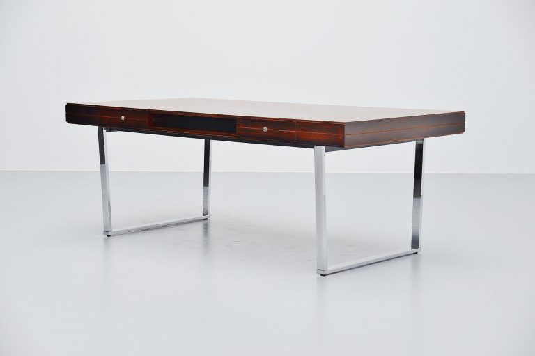 Minimalistic rosewood desk made in Denmark 1960