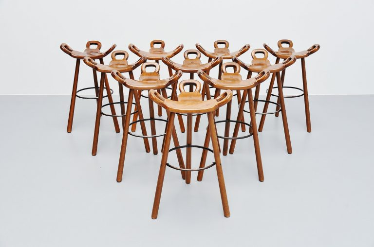 Carl Malmsten brutalist bar stools set Sweden 1950