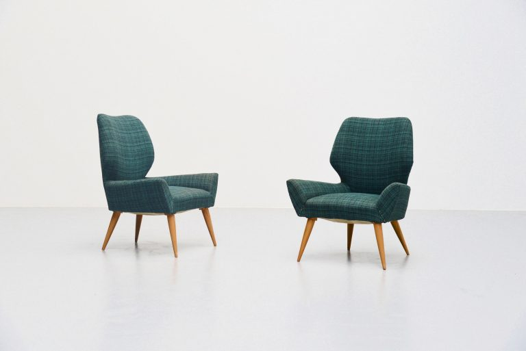 Isa Bergamo club chairs in original fabric Italy 1950
