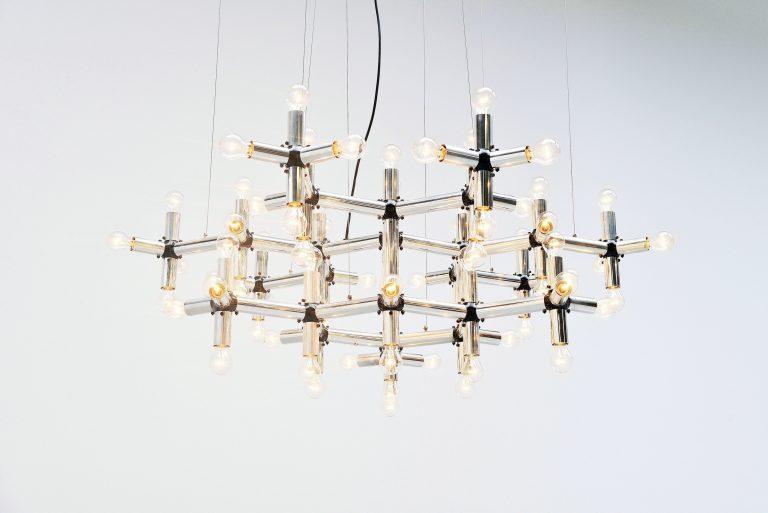 Robert Haussmann Lichtstruktur chandelier Swiss lamp 1969