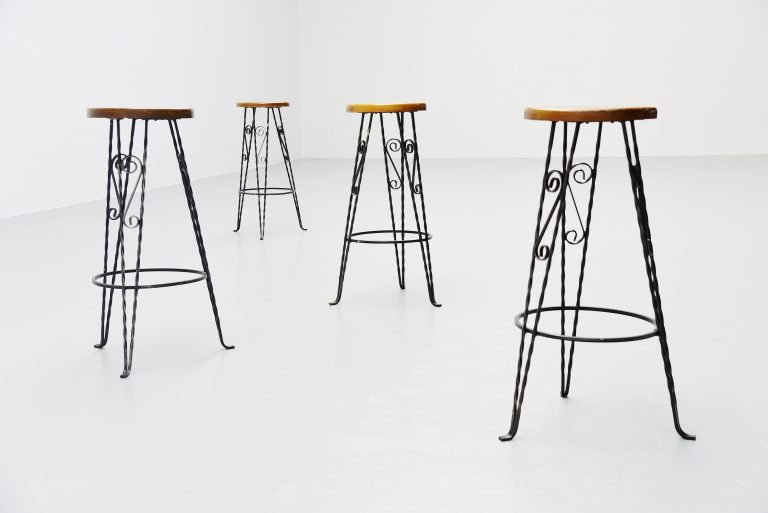 Wrought iron bar stools France 1960