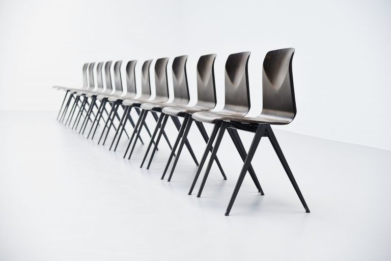 Pagholz stacking chairs set black Germany 1970