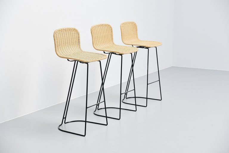 Dutch modernist bar stools in cane Holland 1970