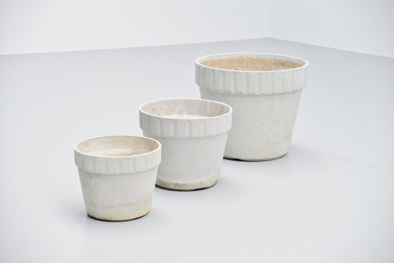Willy Guhl garden planter set ribbed edge Eternit 1960