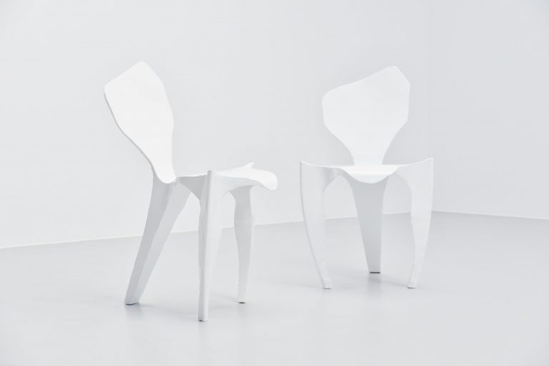 Dennis slootweg white metal ghost chair Holland 1998