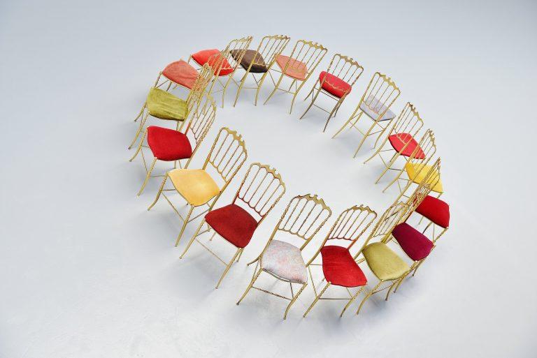 Giuseppe Gaetano Descalzi Chiavari dining chairs set Italy 1960