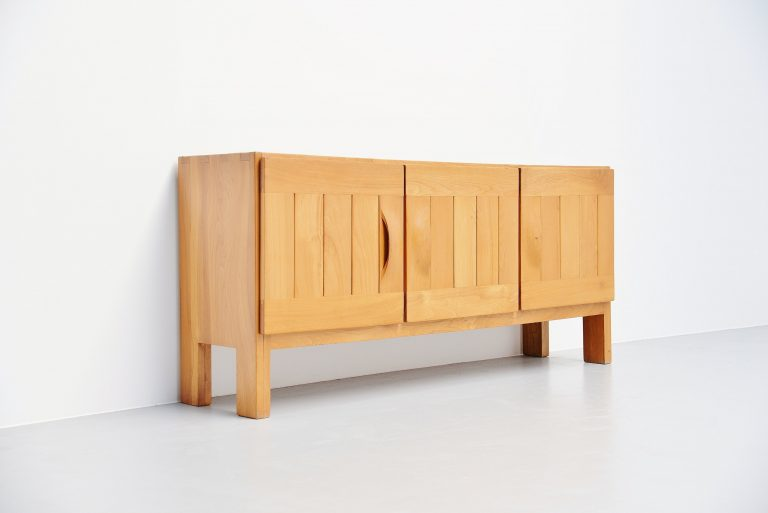 Maison Regain brutalist sideboard in elm France 1970