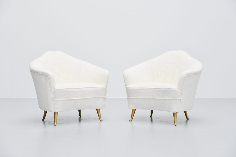 Isa Bergamo club chairs pair Italy 1950