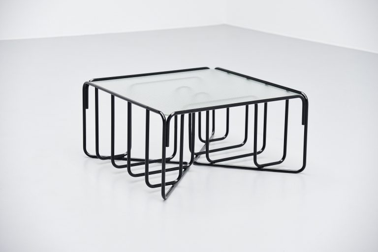 Tubular coffee table reinforced glass Holland 1950