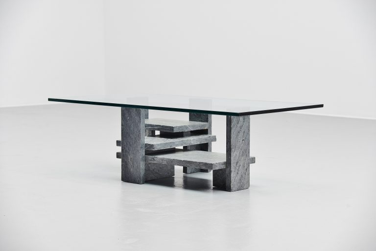 Willy Ballez sculptural coffee table in grey marble Belgium 1972