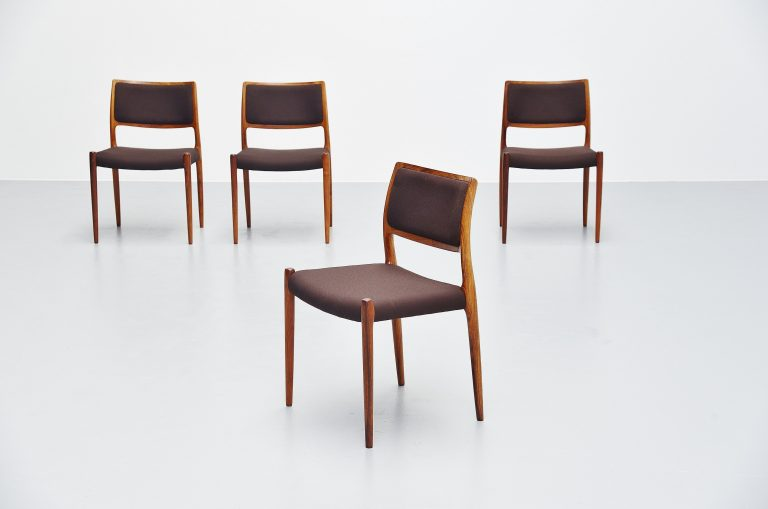 Niels Moller model 80 dining chairs rosewood Denmark 1968