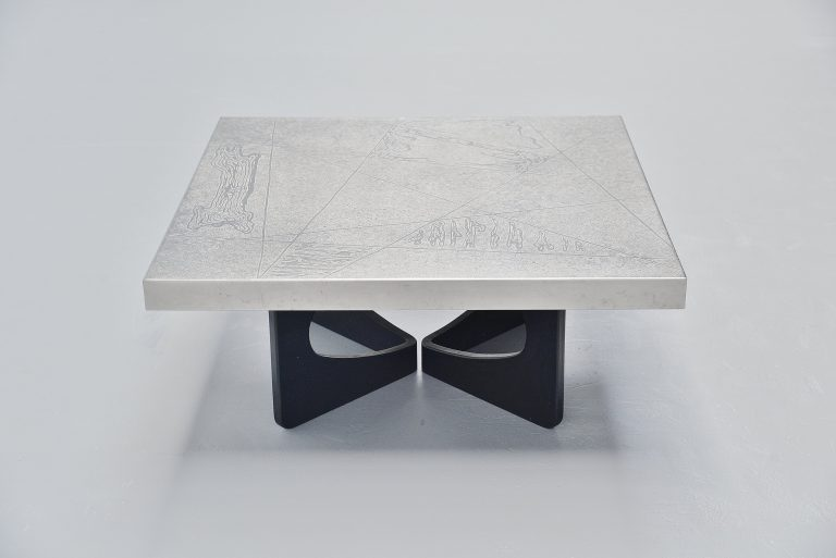 Heinz Lilienthal etched coffee table Germany 1970