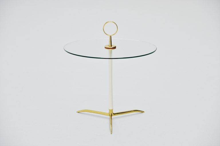 Cesare lacca side table in brass and glass Italy 1950