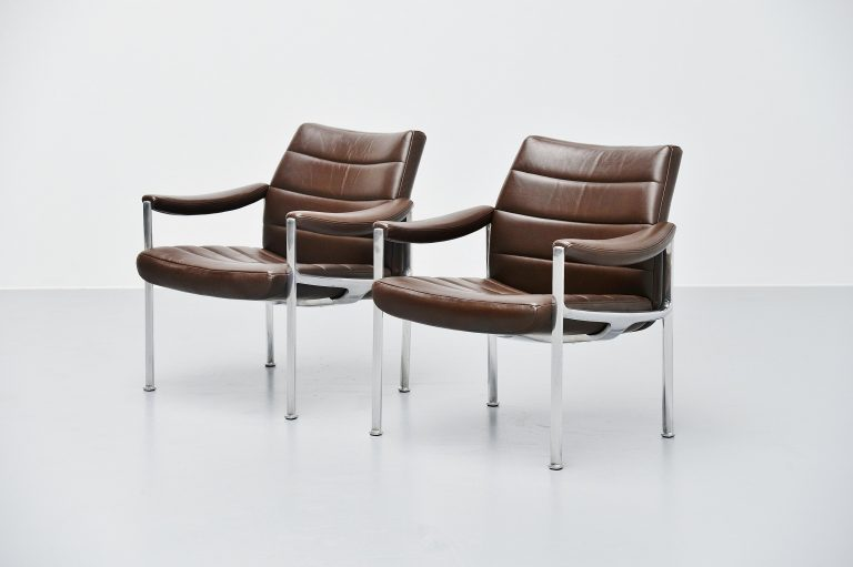 Miller Borgsen lounge chairs brown Röder Söhne Germany 1966