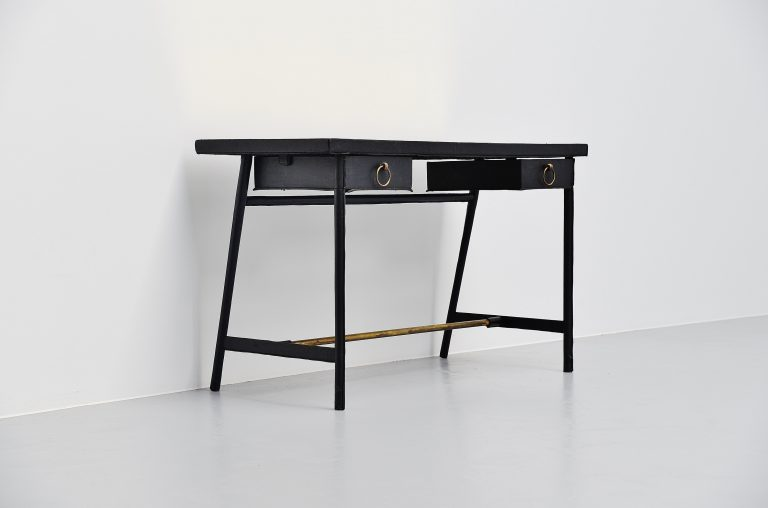 Jacques Adnet leather covered writing desk France 1950