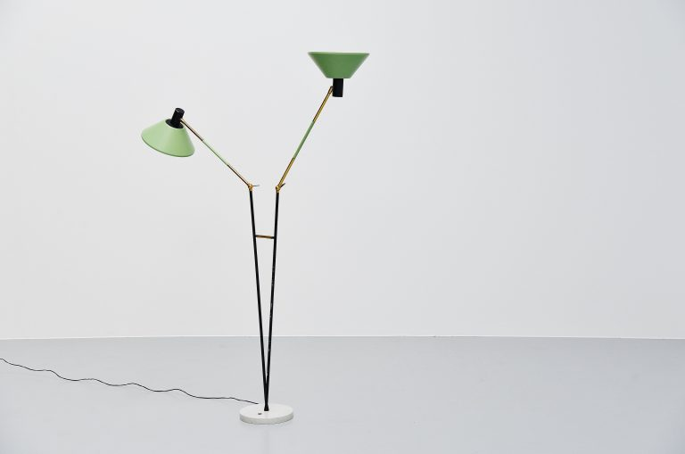 Stilux double adjustable floor lamp Italy 1960