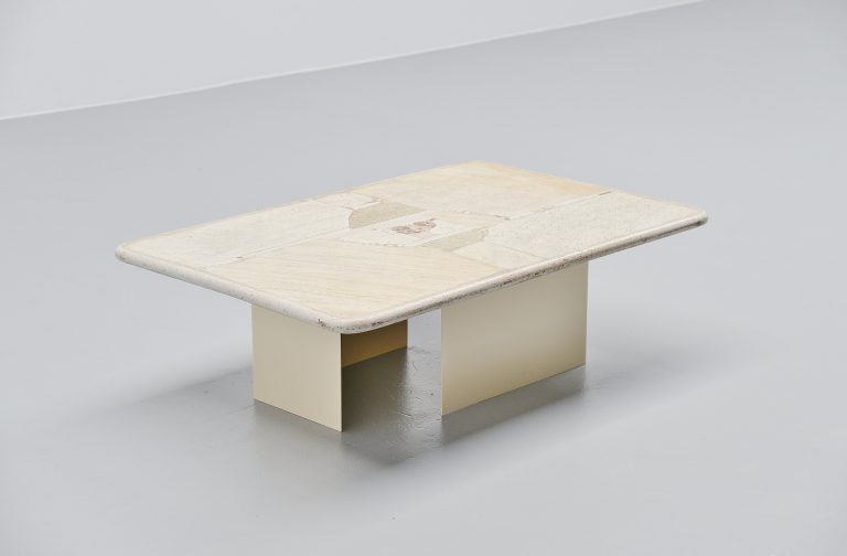Paul Kingma white rectangular coffee table Holland 1997