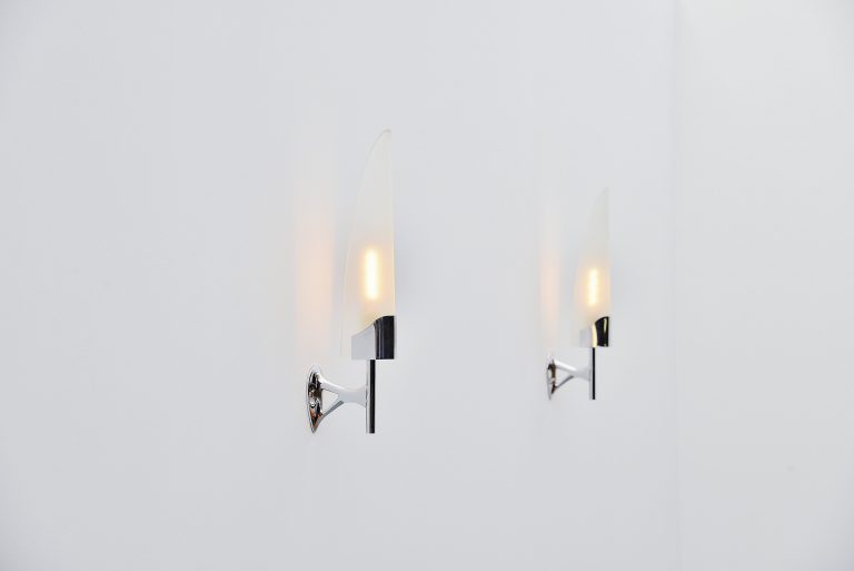 Max Ingrand 2080 sconces pair Fontana Arte Italy 1955