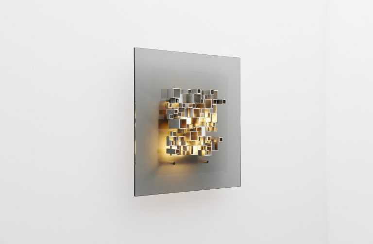 Angelo Brotto glass wall light Esperia Italy 1970