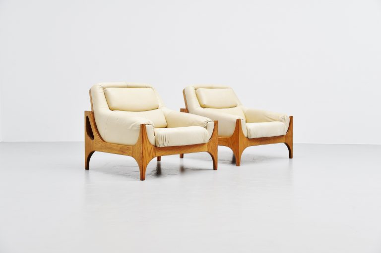 Oak and leather lounge chairs large Denmark 1965
