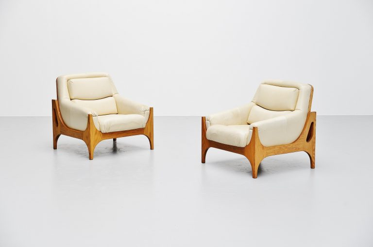 Lounge chairs in oak and leather Denmark 1965