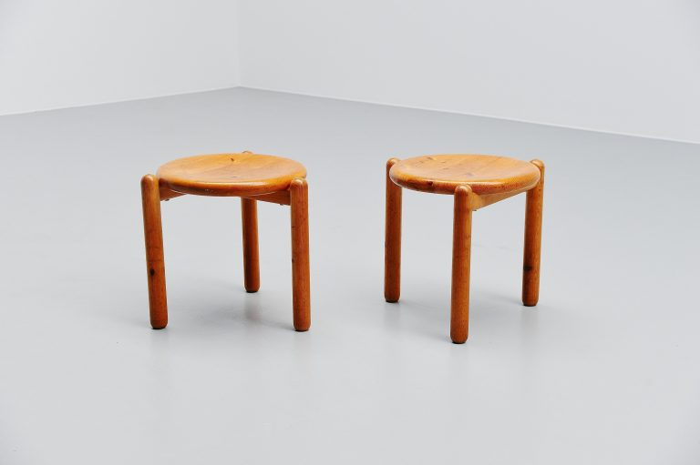 Rainer Daumuller stools set in pine Denmark 1970