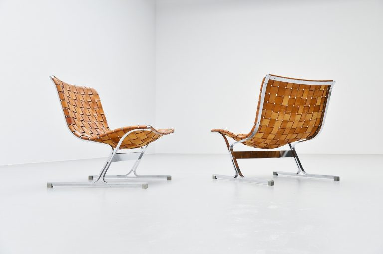 Ross Littel Luar lounge chairs cognac ICF Padova Italy 1965