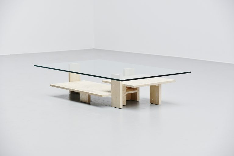 Willy Ballez sculptural coffee table in travertin Belgium 1972