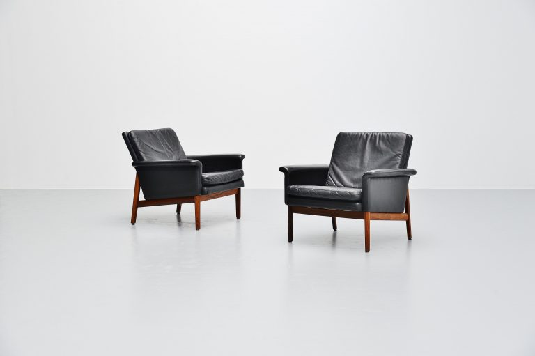 Finn Juhl Jupiter lounge chairs France & Son Denmark 1965 black