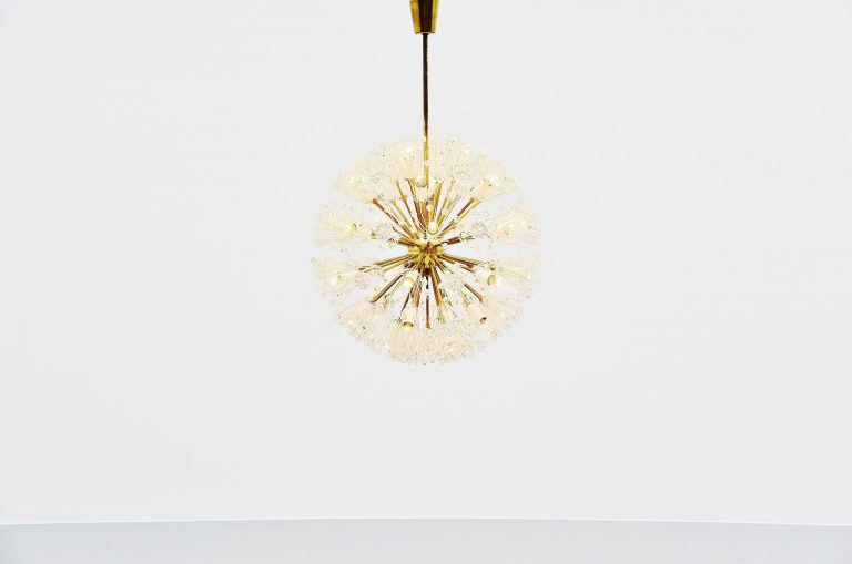 Emil Stejnar large snowflake chandelier Rupert Nikoll 1960