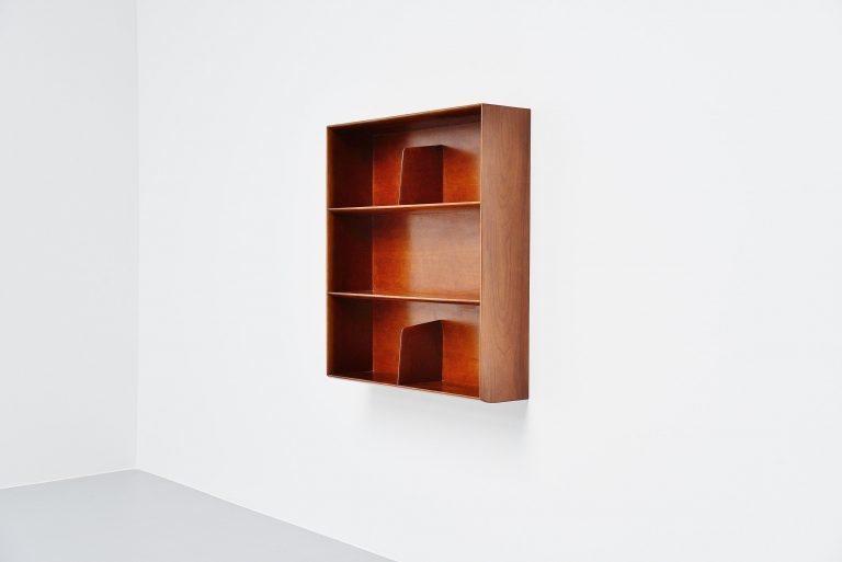 Gio Ponti wall mounted walnut bookcase Italy 1955