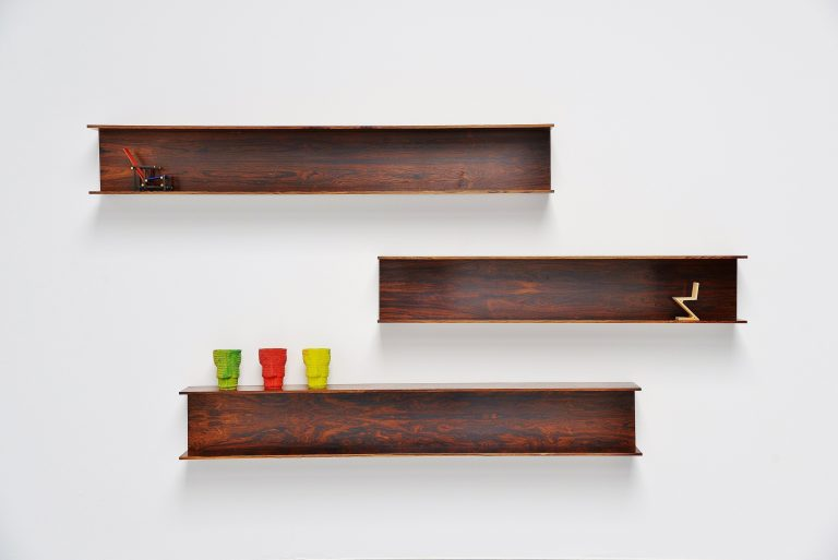 Walter Wirz wall shelves Wilhelm Renz rosewood Germany 1965