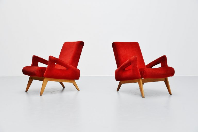 Jean Royere style lounge chairs France 1950